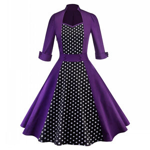 Women Clothing Pin Up Vestidos Spring Autumn Retro Casual Party Robe Rockabilly Dress 50S 60S Vintage Midi Dresses