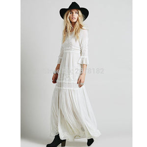 Bohemia Embroidery Maxi Dress Women'S White Ruffles Sweet Long Loose Dress Fashion Party Dresses