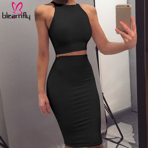 2 Piece Set Women Crop Top Midi Skirts Two Piece Bodycon Skirts Set Women Summer Clothing Suits Clubwear