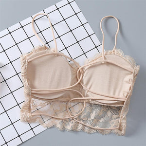3 Colors Women Have A Chest Pad Wearing Underwear Daily Lace Cross Thin Strap Chest Bra A1