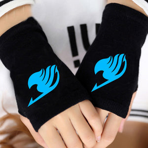 Anime Fairy Tail Gloves Spring Warm Black Glove Unisex Cosplay Gift Cotton Knitting Wrist Fingerless Gloves