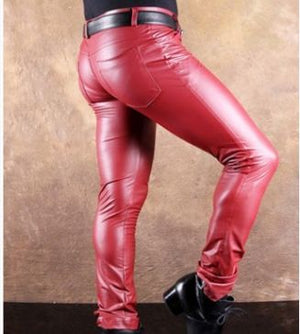 Black Motorcycle Pants Night Club Trousers Men Wild Skinny Faux Leather Pants Men Punk Pants Pantalon Homme 103103