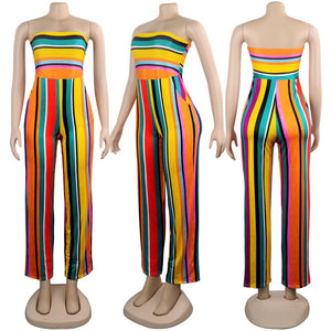 Bohemian Summer Striped Jumpsuits Women Off Shoulder Sleeveless Wide Leg Playsuit Ladies Backless Rompers Overalls