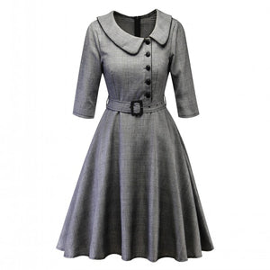 Casual Burgundy Office Lady Plaid 34 Sleeve Vintage Dress TurnDown Collar Belt Women Retro Spring Autumn Dresses