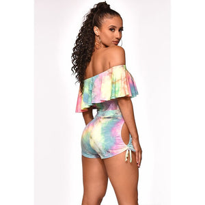 2019 Fashion Casual Suit Tie-dye Casual Sports Plus Size Pink Short Bodycon Sexy Two-piece Set Streetwear Summer Women Outfits