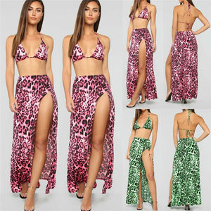 2019 Fashion Women Clothes Set With Cover Up Leopard Dress Swimwear Ladies Clothes Comfortable Beachwear Size S-XL