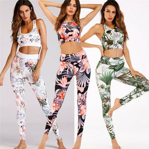2019 Fashion Women Sports Gym Running Fitness Leggings Athletic Clothes Tank +Pants Ladies Floral Print Clothes Set