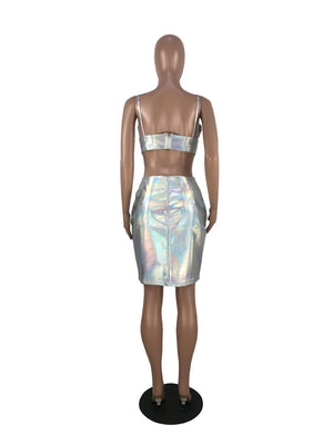2019 Glitter Holographic Women Laser Sexy Two Piece Set Sling Deep V Neck Open Back Crop Top + Bodycon Mini Skirt Night Club 3XL