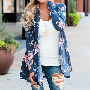 Women Ladies Floral Jacket Open Front Kimono Overcoat Casual Cardigan Chiffon Shirt #0426 A#487