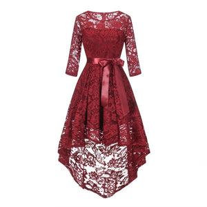 Lace Maxi Dress Sweet Vintage Women Long Dresses Pink Wine Red Asymmetrical Lace Vestidos De Fiesta Tuxedo Jurk Robe Femme