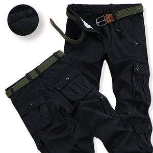 Mens Warm Velvet Pants Winter Fashion Zipper Thick Cargo Pants Casual Outwear Multi Pockets Trousers Plus Size 40 11020