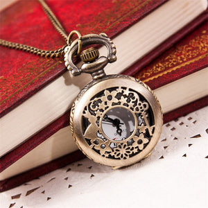 Vintage Charm Unisex Watch Chain Retro Bronze Quartz Pocket Watch Pendant Chain Necklace #0710