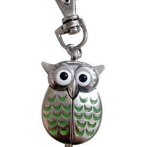 Vintage Charm Unisex Cute Owl Shapes Alloy Quart Round Pocket Watch Keychain #0710