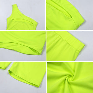 2019 Hollow Out Two Piece Set One Shoulder Women Sports Sets Summer Hip Push Up Tracksuit Crop Top Sports Suits