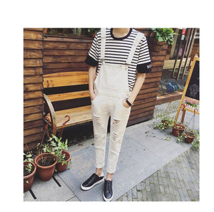 Spring Personality Big Hole Ripped Jumpsuit Male Suspenders Black White Overalls Hip Hop Men Bib Pants 060705