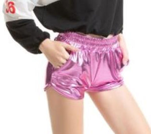 Pu Leather Shorts Summer Shorts Elastic Waist Pink Gold Beach Casual Pu Shorts Silver Bling Shine Shorts