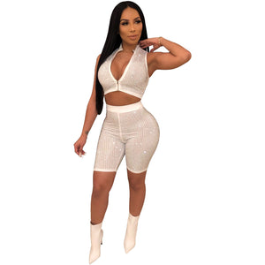 Women Drilling Rhinestones Sleeveless Zipper Up Top Skinny Short Pants Suit Sporting Tracksuit Outfit 2Color Wy6531