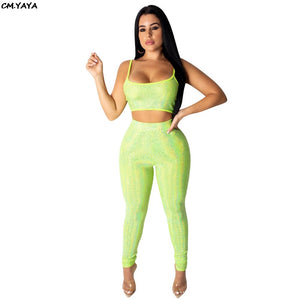 2019 Women Summer Light Tank Short Tee Top Pencil Pant Suit Two Piece Set Sexy Party Club Night Tracksuit Outfit GLWYNZ8188