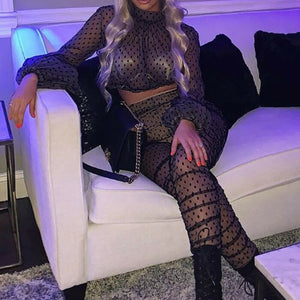 2019 2PCS Sexy Women Sheer Long Sleeves Polka Dot Bodycon Club Sexy See Through Mesh Casual Jumpsuit Playsuit