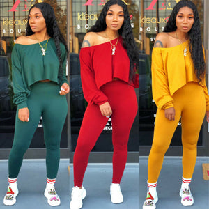 2019 Fashion Women's Lady Loose Off Shoulder Long Sleeve Crop Tops Slim High Waist Pants 2pcs Clothes Set