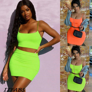 2019 Sexy Women Sheath Bodycon Two Piece Camis Crop Tops Mini Skirt Set Ladies Sleeveless Party Club Wear Sundress