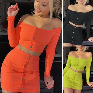 2019 Summer Button Off Shoulder Long Sleeve Crop Top Short Pencil Skirt Bodycon Evening Party 2Pcs Clothes Set