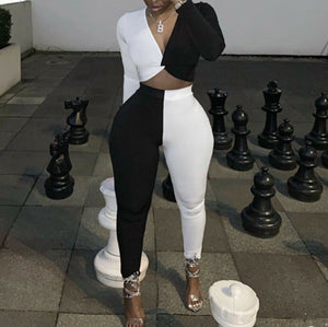 2019 Women Clubwear Sexy Long Sleeve Deep V Neck Crop Top Pants Clothes Casual Jumpsuit Black White Contrast Color