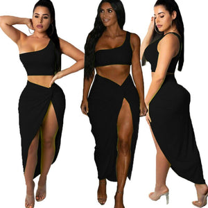 2019 Women Summer Sexy Bodycon Two Piece Solid Crop Top One Shoulder Bandage Skirt Set Club Party Wear Clothes Set
