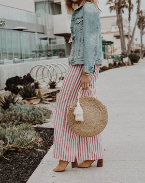 2019 Women Summer Sleeveless Striped Strapless Crop Top + Wide Leg Pant Casual Jumpsuit Playsuits Outfits