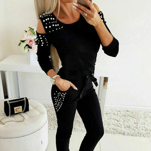 2019 Women's Ladies Cold Shoulder Pearl Long Sleeve Casual T-shirts +Long Pants Comfy Two Piece Spring Autumn Wear