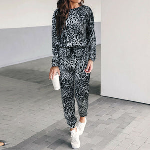 2019 Women's Leopard Long Sleeve Pullover Sweatshirt High Waist Trousers Pants Sport Tracksuit Set