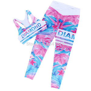 Retro Digital Printed Letters Workout Suit Fitness Tracksuit Women Set Sporting Bra Leggings Women Clothing