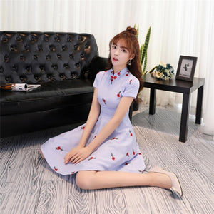 Women Flowers Dress Embroidery Striped Chinese Qipao Style Dress Vintage Summer Stand Collar Dress Cotton