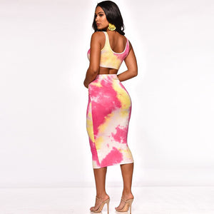 2019 Sexy Women Two Piece Set Beach Outfits Tie Dye Crop Tank Top Midi Skirt Set Bodycon Dress Summer Clothes Matching Sets