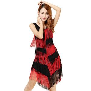 Shining Women Slim Fit Tiered Swinging Fringe Tassel Flapper Sleeveless Latin Dancewear Dress #0420 A#487