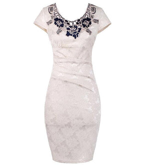 Spring Summer Lace Mesh Patchwork Women Flower Embroidery Dress Bodycon Vintage Dress Plus Size