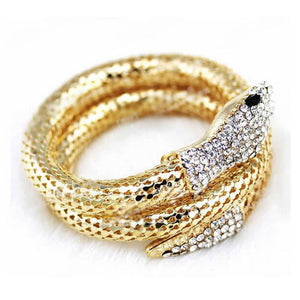 Stylish Chic Women Stylish Vintage Retro Punk Rhinestone Curved Stretch Snake Cuff Bangle Bracelet #0530