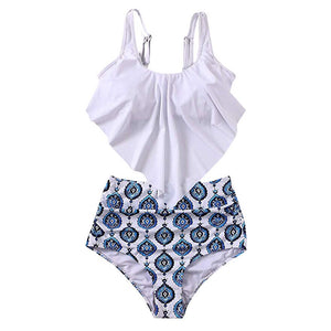 Summer Bikinis Women Two Pieces High Waist Bathing Suits Top Ruffled With High Waisted Bottom Tankini Switmsuit #0301