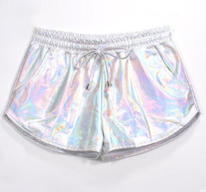 Summer Hologram Festival Rave Wear Clothes Shorts Holographic Shining High Waist Shorts Women Holographic Fabric Bottoms