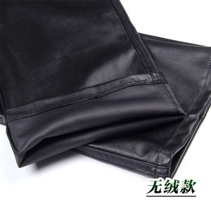 Summer Hip Hop Mens Faux Pu Leather Pants Man Casual Motorcycle Joggers Fashion Black Pu Party Sweatpants 060101