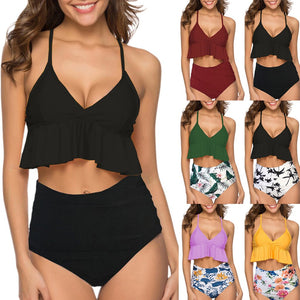 Summer Set Women Two Pieces Halter Bathing Suits Top Ruffled With High Waisted Bottom Tankini Switmsuit #0301