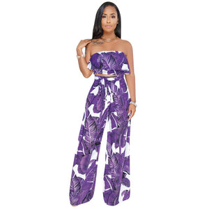 2019 Summer Sexy Print Suits Sleeveless Tube Top Wide Leg Ruffles Pant With Belt Pattern Two-piece Women Streetwear Outfits