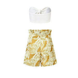 2019 Summer White Print Outfits Sexy Bow Wrapped Solid Chest Top Print Short Pants Suit Woman Beach Style Fashion Two Piece Sets