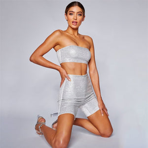 2019 Summer Women Sequin Glitter Rhinestones Bodycon Two Piece Set Fashion Sexy Wrapped Chest Tops Shorts Nightclub Wear Set