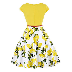 Summer Women Vintage Retro 50S 60S Cap Sleeve O Neck Floral Flower Lemon Printed Rockabilly Pin Up Skater Dress Casual