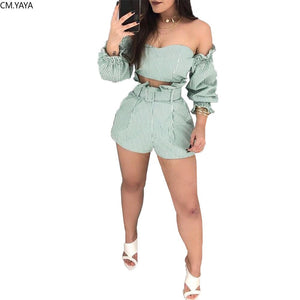2019 Summer Women Off Shoulder Long Sleeve Stripes Print Blouse Shirt Shorts Suit Two Piece Set Fashion Tracksuit Outfit GLB9191