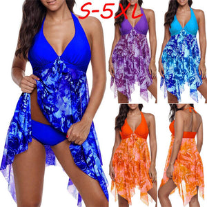 Women Bohemia Print Swimwear Tankini Asymmetric Hem Halter Backless Biquini #0116 A#487