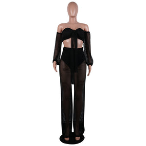 2019 Women Mesh Grid See Through Fishnet Tie Up Long Sleeve Crop Top Wide Leg Long Pants Suits Two Piece Sexy Outfits Tracksuits