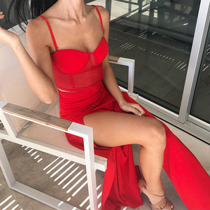 Women'S Set Sling OpenLeg WideLeg Pants Casual TwoPiece Suit Star With The Same Paragraph Fashion Sling Red Suit