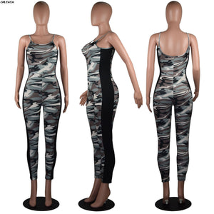 2019 Women Summer Camouflage Print Spaghetti Strap Sleeveless Bodycon Jumpsuit Fashion Casual Romper Playsuit 3 Color GLLD9002